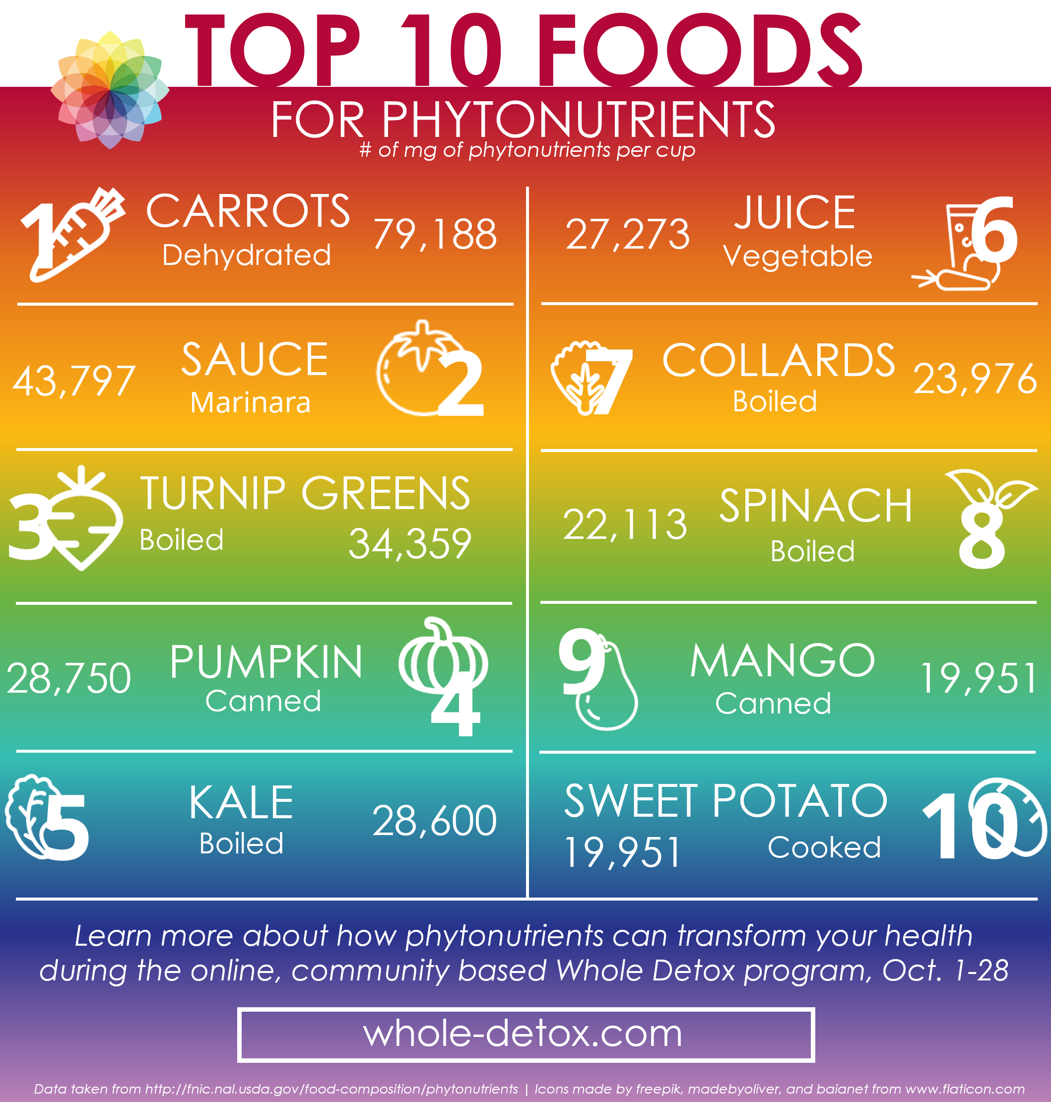 Top 10 Phytonutrients Infographic Rainbow Square